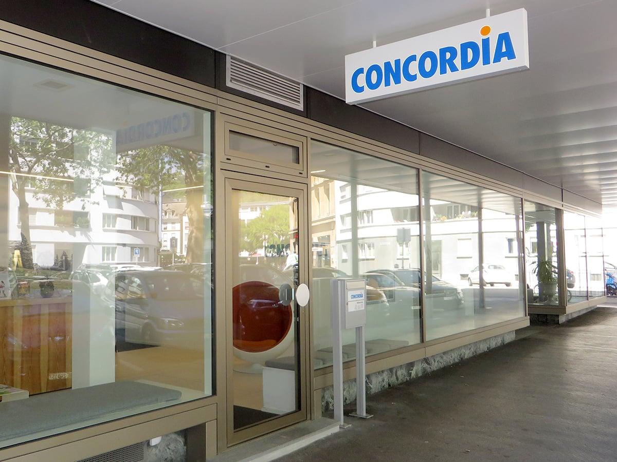 Neoprop Aussenbeschriftung Leuchtkasten Concordia